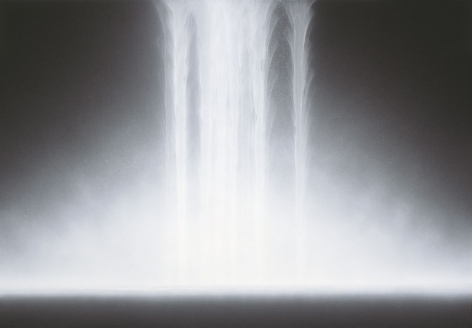 Hiroshi Senju, Waterfall, 2012, natural, acrylic pigements on Japanese mulberry paper, 44.1 x 63.8 inches/112 x 162 cm
