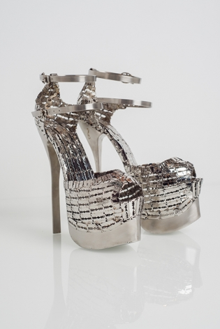Her Stilettos 2, 2019, stainless steel, 9.5 x 7 x 6 inches/24.1 x 17.8 x 15.2 cm, Edition 2 of 3