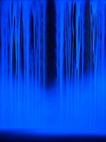 , Hiroshi Senju, Waterfall under ultraviolet light, 2014, acrylic and fluorescent pigments on Japanese mulberry paper, 102 x 76 5/16 inches/259.08 x 194 cm.