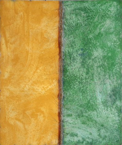 Line Drawing Yellow/Green, 2006, pure pigment on galvanized steel, 48 x 40 inches/121.9 x 101.6cm