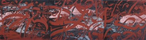 Ahmad Moualla, Untitled, 2010, acrylic on canvas, 19.7 x 70.9 inches