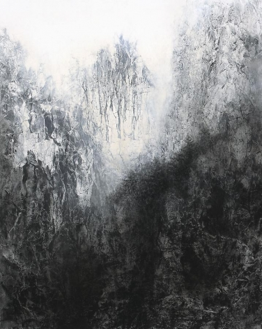 Cliff, 2012, natural and acrylic pigment on Japanese mulberry paper, 89.5 x 71.6 inches