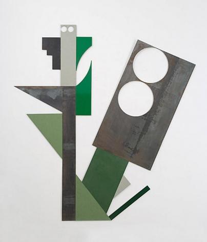 "Merrill Wagner,  Large Flower, Small Owl , 2006, Rust preventative paint on steel, 87.75 x 82.25"""