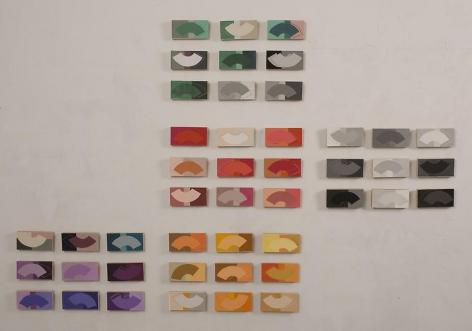 Beyond Richter Installation, 2009, silk screen printed paper on marine board