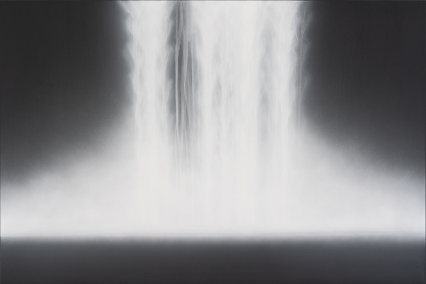 Waterfall,2019, natural pigments on Japanese mulberry paper mounted on board, 51.3x 76.3inches/130 x 194 cm