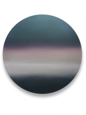 Miya Ando, Moon Purple Dark Green Shift 6.19.4.1, 2019, pigment, resin and urethane on aluminum, 48 x 48 inches/122 x 122 cm