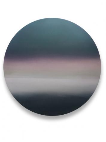 Miya Ando, Moon Purple DarkGreen Shift 6.19.4.1, 2019, pigment, resin and urethane on aluminum, 48 x 48 inches/122x 122cm