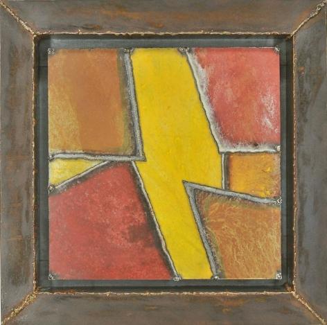 Nathan Slate Joseph, Mondasanda I, 2011, pure pigments on steel, 29 x 29 x 3 inches