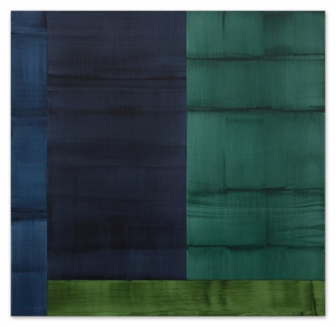 Bhutan Abstraction with Grey-Green 1, 2014, oil on linen, 71 x 73 inches/180 x 185 cm