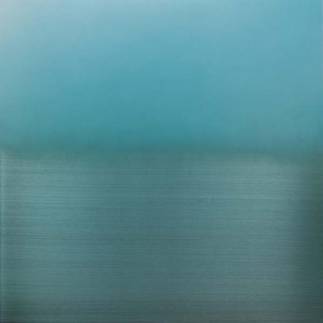 , Mizu Iro Light Blue, 2015, aluminum, dye, resin, urethane, 36 x 36 inches