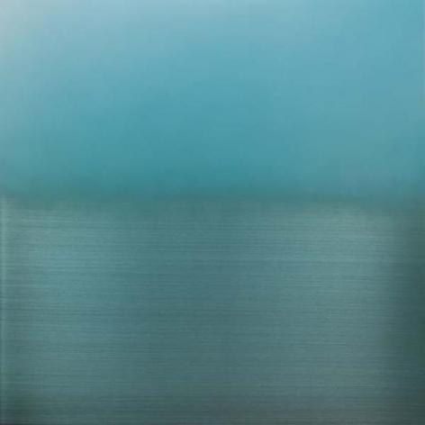 , Mizu Iro Light Blue, 2015, aluminum, dye, resin, urethane, 36 x 36 inches