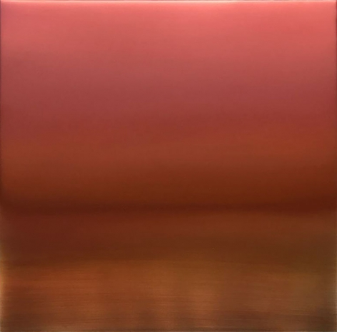 Miya Ando, Shu-Iro (Vermillion) 6.19.3.3.1, 2019, pigment, resin and urethane on aluminum, 36 x 36 inches/91.4 x 91.4 cm