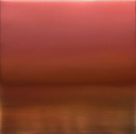Miya Ando, Shu-Iro (Vermillion) 6.19.3.3.1, 2019, pigment, resin and urethane on aluminum, 36 x 36 inches/91.4 x 91.4 cm