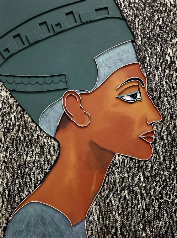 Nefertiti, 2012, acrylic and wood on canvas, 48 x 36 inches
