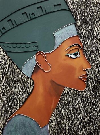 Nefertiti, 2012, acrylic and wood on canvas, 48 x 36 inches