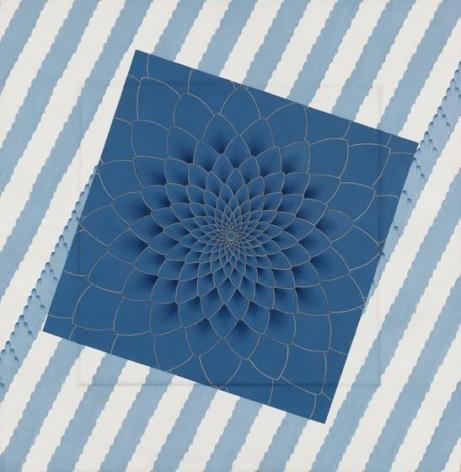 Blue Himalaya, 2015, stone pigment and Arabic gum on handmade Sanganer paper, 26 x 26 inches/66 x 66 cm