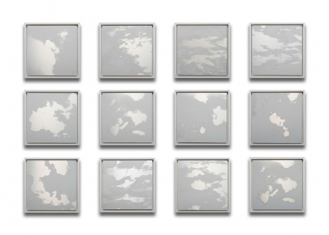 Miya Ando, 12 Months Clouds grid,2020, ink on aluminum composite, 39.75 x 53 x 2 inches/101 x 134.6 x 5.1 cm