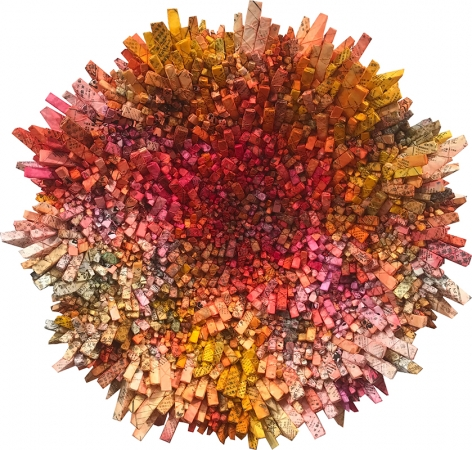 Aggregation 20 - FE010, 2020, mixed media with Korean mulberry paper, 45.3 inches/115.1 cm tondo