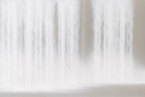 Waterfall, 2020, natural pigments and platinum on Japanese mulberry paper mounted on board, 51.3 x 76.4 inches/130 x 194 cm,