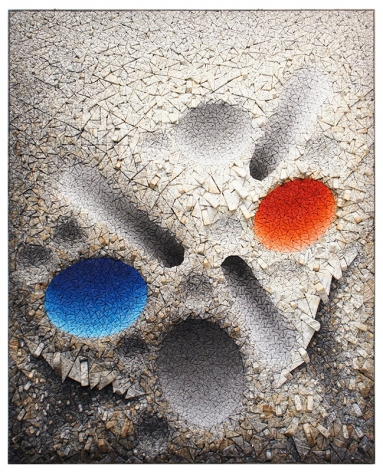 Aggregation 08 - D075, 2008, mixed media with Korean mulberry paper, 64.2 x 51.6 inches/163.1 x 131.1 cm