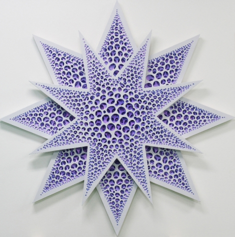 Flat Structure (Star Purple), 2018, acrylic on fiberglass resin, 59.1 x 59.1 x 1.8 inches/150 x 150 x 4.5 cm