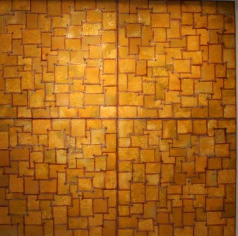 "Nathan Slate Joseph,  Arrested Memories , 2006, Pure pigment on galvanized steel, 1200 x 120 x 2"""