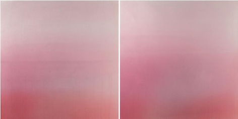 Sui Getsu Ka Red, 2013, hand dyed anodized aluminum, 24 x 48 inches