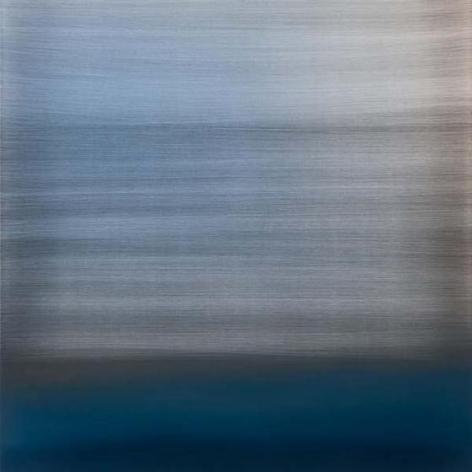 Miya Ando, Evanescent Blue, 2015, urethane and pigment aluminum, 36 x 36 inches/91.5 x 91.5 cm