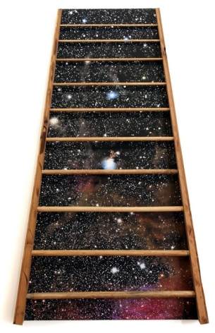 Barton's Ladder, 2012, inkjet and wood on canvas, 60 x 37 x 3.5 inches/152.4 x 94 x 8.9 cm