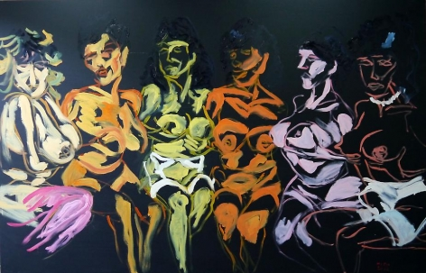 Tawan Wattuya, Papaya, Banana and Orange, 2013, acrylic and oil on canvas, 180 x 280 cm