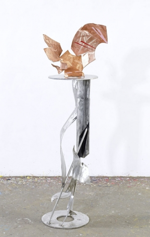 The Requiem, 2011, red copper, stainless steel, industrial paint, 64.4 x 20.1 x 20.5 inches/163.5 x 51.1 x 52.1 cm