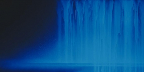 Hiroshi Senju, Falling Water, 2013, Acrylic and fluorescent pigments on Japanese mulberry paper, 33 1/2 x 66 7/8 inches © 2013 Hiroshi Senju