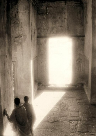 """Monks in a Sunlight Doorway, Angkor Wat"", Silver Gelatin Print, 24 x 20"""