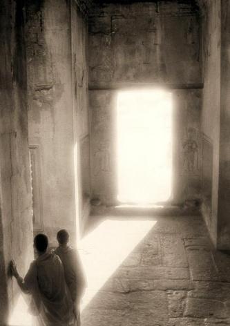 """Monks in a Sunlight Doorway, Angkor Wat"", Silver Gelatin Print, 24 x 20"""