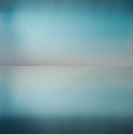 Hakanai Fleeting Sea Sky Blue, 2013, hand dyed anodized aluminum, 48 x 48 inches