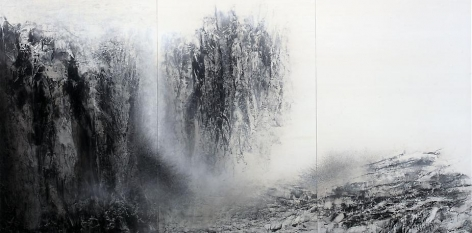 Cliff, 2012, natural and acrylic pigment on Japanese mulberry paper, 76.3 x 153.9 inches