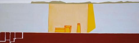 "Frances Barth yellow volume2008Acrylic on canvas24 x 78"""