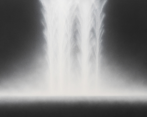 Waterfall, 2018, natural pigments on Japanese mulberry paper mounted on board, 28.7x 35.8inches/73 x 91 cm