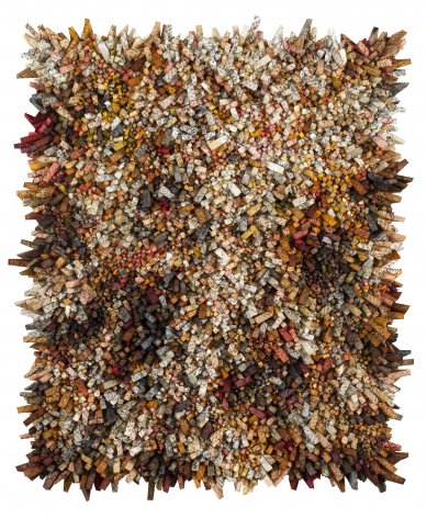 Chun Kwang Young, Aggregation 17 - NV093, 2017, mixed media with Korean mulberry paper, 73.2 x 60.2 inches/186 x 153 cm