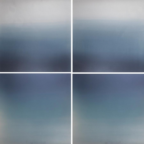 Hakanai Fleeting Blue, 2013, hand dyed anodized aluminum, 48 x 48 inches