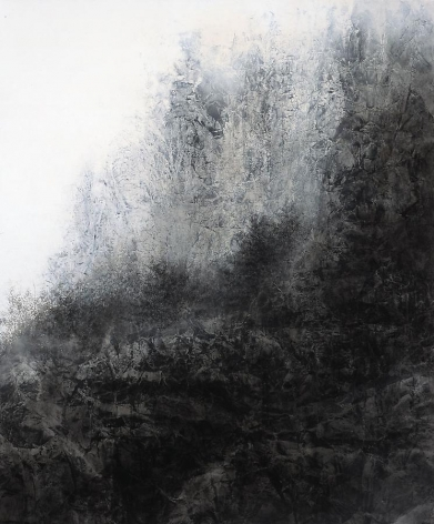 Cliff, 2012, natural and acrylic pigment on Japanese mulberry paper, 76.3 x 63.8 inches