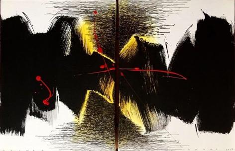 Golnaz Fathi, Untitled, 2017, acrylic, pen and varnish on canvas, 15.75 x 23.62 inches/40 x 60 cm