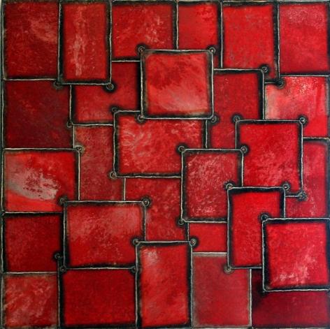 "Nathan Slate Joseph, Red Sea Part, 2003, Pure pigment on galvanized steel, 36 x 36"""