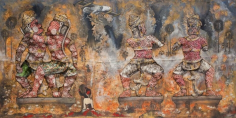 , Leang Seckon, Indochina War, 2015, mixed media on canvas, 78.7 x 157.5 inches/200 x 400 cm
