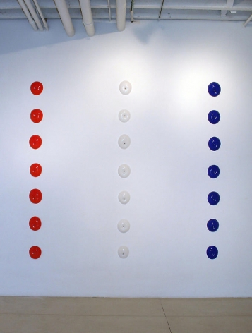 Michael Petry, The PAs, 2007, Glass, plastic rivets, and screws (21 pieces), dimensions variable
