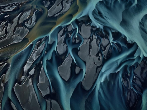 Edward Burtynsky, Thjorsa River #1, Iceland, 2012, Chromogenic color print, 48 x 64 inches. Photographs © 2012 Edward Burtynsky