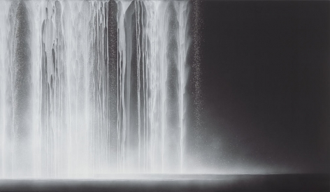 Waterfall, 2012, natural pigments on Japanese mulberry paper, 44.1 x 76.3 x 1.2 inches/112 x 194 x 3 cm