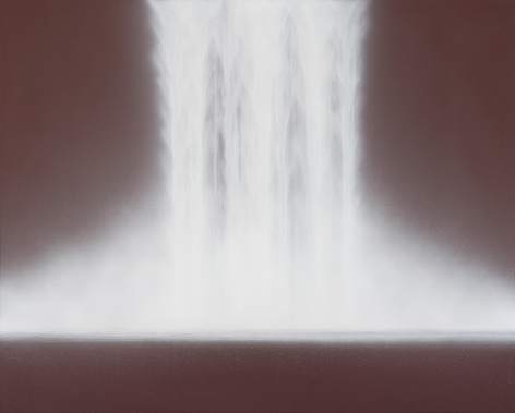 Waterfall, 2019, natural pigments on Japanese mulberry paper mounted on board, 51.3x 63.8inches/130 x 162 cm