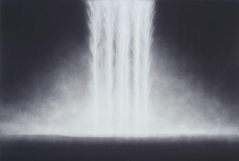 Hiroshi Senju Waterfall, 2010, pure natural pigment on mulberry paper, 51 x 75 inches