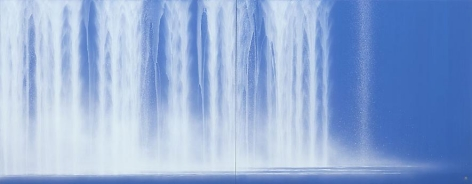 , Waterfall, 2013, natural pigments on Japanese mulberry paper, 35.8 x 91.9 inches